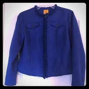 Ruby Rd Ruffled Brocade Cotton Blended Jacket 8